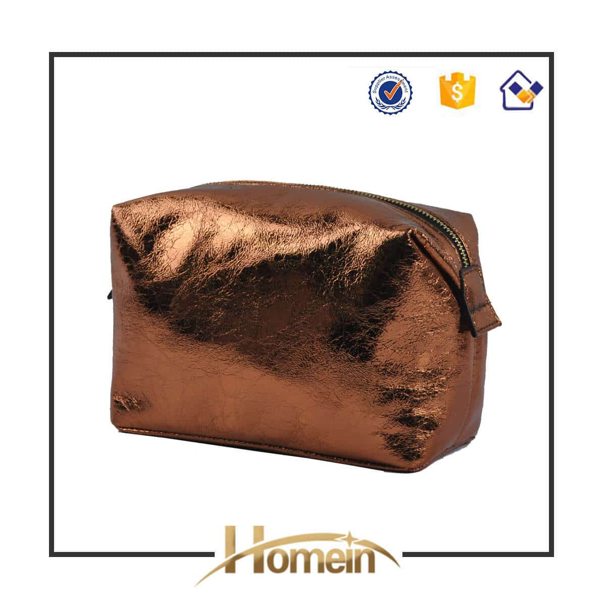 High Quality Gold Shiny Pouch Zipper Cosmetic Bag