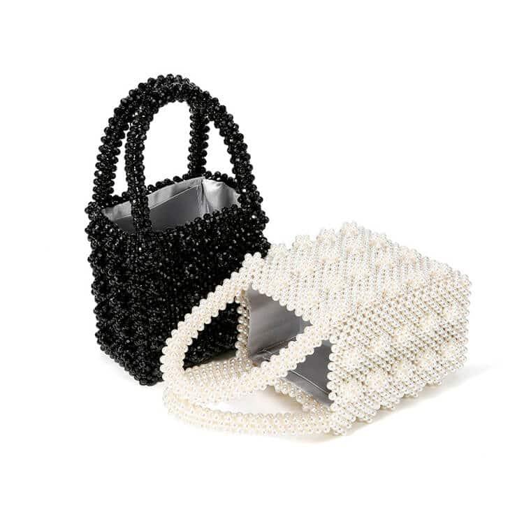 Pearl Tote Bag Women's Elegant Beaded Handbag